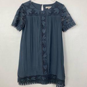 Ann Taylor dusty blue shift dress crochet sleeve